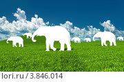 Белые силуэты слонов на зеленом лугу. Стоковая иллюстрация, иллюстратор Виктор Застольский / Фотобанк Лори
