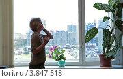 Купить «Девушка ходит перед окном и разговаривает по мобильному телефону», видеоролик № 3847518, снято 18 сентября 2012 г. (c) Кекяляйнен Андрей / Фотобанк Лори