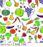 Купить «Бесшовный фон с фруктами и овощами», иллюстрация № 3848198 (c) Silanti / Фотобанк Лори