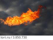 Купить «Нефтяной факел. Сжигание попутного газа на месторождении нефти», эксклюзивное фото № 3850730, снято 20 сентября 2012 г. (c) Валерий Акулич / Фотобанк Лори