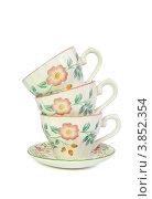 Три фарфоровые чайные чашки. Стоковое фото, фотограф Shlomo Polonsky / Фотобанк Лори