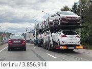 Купить «Автовоз польского автоперевозчика везёт легковые автомобили Hyundai», фото № 3856914, снято 31 августа 2012 г. (c) Родион Власов / Фотобанк Лори