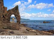 Купить «Причудливые скалы береговой линии на юге Сахалина», фото № 3860126, снято 25 сентября 2011 г. (c) Елена Шаповалова / Фотобанк Лори