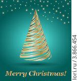 Новогодняя зеленая открытка с абстрактной елкой. Стоковая иллюстрация, иллюстратор Чичина Марина / Фотобанк Лори