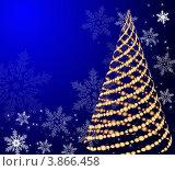 Новогодний синий фон с елкой и снежинками. Стоковая иллюстрация, иллюстратор Чичина Марина / Фотобанк Лори