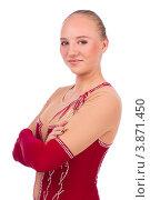 Купить «Гимнастка позирует на белом фоне», фото № 3871450, снято 12 сентября 2012 г. (c) Tatjana Romanova / Фотобанк Лори