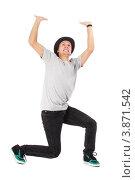 Купить «На парня сверху давит предмет, держит руками воображаемый баннер над головой», фото № 3871542, снято 5 сентября 2012 г. (c) Tatjana Romanova / Фотобанк Лори