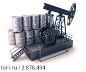Купить «Добыча нефти. Нефтекачалка и бочки на белом фоне», фото № 3878494, снято 20 сентября 2018 г. (c) Алексей Варлаков / Фотобанк Лори