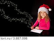 Купить «Девочка пишет письмо деду морозу», фото № 3887098, снято 12 мая 2012 г. (c) Гладских Татьяна / Фотобанк Лори