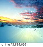 Купить «Закат над морем», фото № 3894626, снято 18 августа 2012 г. (c) Sergey Nivens / Фотобанк Лори