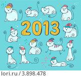 Новогодние коты. Стоковая иллюстрация, иллюстратор Малинина Наталья / Фотобанк Лори