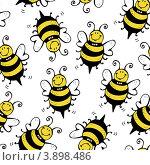 Бесшовный фон с пчёлами. Стоковая иллюстрация, иллюстратор Малинина Наталья / Фотобанк Лори