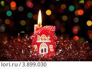 Свеча-домик на Рождество. Стоковое фото, фотограф Татьяна Саламахина / Фотобанк Лори