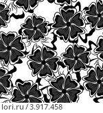 Купить «Бесшовный черно-белый фон с цветами», иллюстрация № 3917458 (c) Silanti / Фотобанк Лори