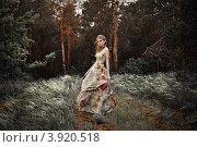 Девушка в красивом длинном платье в сказочном лесу. Стоковое фото, фотограф Boris Bushmin / Фотобанк Лори