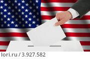 Купить «Флаг США и рука, опускающая бюллетень в урну», иллюстрация № 3927582 (c) Александр Макаров / Фотобанк Лори