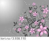 Серый фон с розовыми цветами. Стоковая иллюстрация, иллюстратор Чичина Марина / Фотобанк Лори