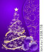 Новогодние шарики и елка на сиреневом фоне. Стоковая иллюстрация, иллюстратор Чичина Марина / Фотобанк Лори
