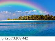 Купить «Тропический остров с пальмами в океане и радуге над ним», фото № 3938442, снято 16 июня 2011 г. (c) Куликов Константин / Фотобанк Лори