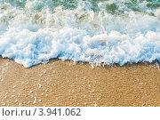 Купить «Морская вспененная волна набегает на песчаный пляж», фото № 3941062, снято 12 сентября 2012 г. (c) Валерия Потапова / Фотобанк Лори