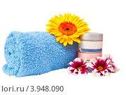 Купить «Голубое махровое полотенце, баночки с кремом и цветы», фото № 3948090, снято 11 октября 2012 г. (c) Mikhail Starodubov / Фотобанк Лори