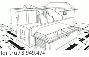Купить «Схематически изображенное строительство загородного дома на фоне чертежа», видеоролик № 3949474, снято 21 октября 2012 г. (c) Перов Евгений / Фотобанк Лори