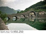 Купить «Старинный каменный мост Ponte Della Maddalena, Италия», фото № 3950250, снято 13 июля 2011 г. (c) Анастасия Золотницкая / Фотобанк Лори