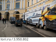 Купить «Размещение рекламы на фуре. Санкт-Петербург», фото № 3950802, снято 29 мая 2010 г. (c) Светлана Кудрина / Фотобанк Лори