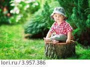 Маленький мальчик сидит на пеньке (2012 год). Редакционное фото, фотограф Екатерина Штерн / Фотобанк Лори