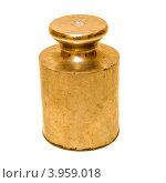 Купить «Золотая гиря на белом фоне», фото № 3959018, снято 27 июля 2012 г. (c) Дмитрий Брусков / Фотобанк Лори