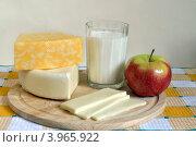 Сыр и стакан молока. Стоковое фото, фотограф Julia Ovchinnikova / Фотобанк Лори