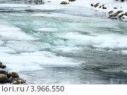 Купить «Частично замерзшая река зимой», фото № 3966550, снято 7 января 2011 г. (c) Юрий Брыкайло / Фотобанк Лори