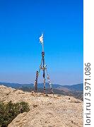 Купить «Триангуляционный пункт на вершине горы Сокол», фото № 3971086, снято 10 августа 2012 г. (c) Юрий Коблов / Фотобанк Лори