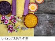 Спа-натюрморт с ароматическими солями и орхидеями. Стоковое фото, фотограф Елена Блохина / Фотобанк Лори