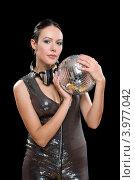 Купить «Портрет симпатичной брюнетки с зеркальным шаром», фото № 3977042, снято 16 января 2011 г. (c) Сергей Сухоруков / Фотобанк Лори