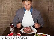 Купить «Стейк из говядины на обед», фото № 3977902, снято 30 сентября 2012 г. (c) Jan Jack Russo Media / Фотобанк Лори