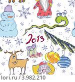 Купить «Бесшовный новогодний фон», иллюстрация № 3982210 (c) Даша Богословская / Фотобанк Лори