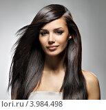 Красивая девушка с длинными каштановыми волосами. Стоковое фото, фотограф Валуа Виталий / Фотобанк Лори