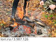Купить «Приготовление сосисок на костре», эксклюзивное фото № 3987126, снято 21 октября 2012 г. (c) Алёшина Оксана / Фотобанк Лори