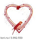 Купить «Рамка в виде сердца с розой и птицей», иллюстрация № 3992550 (c) Татьяна Петрова / Фотобанк Лори
