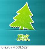 Купить «Новогодний фон с бумажными елочками», иллюстрация № 4008522 (c) Евгения Малахова / Фотобанк Лори