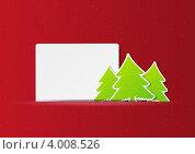Новогодний фон с бумажными елочками. Стоковая иллюстрация, иллюстратор Евгения Малахова / Фотобанк Лори