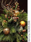 Купить «Игрушки-шары, мишура и другие украшения на новогодней елке», фото № 4009594, снято 27 декабря 2011 г. (c) Александр Скопинцев / Фотобанк Лори