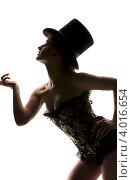 Купить «Силуэт женщины в цилиндре и корсете на белом фоне», фото № 4016654, снято 30 сентября 2009 г. (c) Syda Productions / Фотобанк Лори