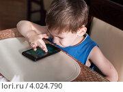 Купить «Мальчик за столом в общественной столовой играет в игры на смартфоне», эксклюзивное фото № 4024790, снято 14 июля 2012 г. (c) Родион Власов / Фотобанк Лори