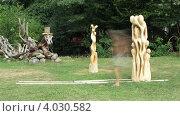 Мужчина передвигает скульптуру в парке, таймлапс (2012 год). Редакционное видео, видеограф Yaroslav Bokotey / Фотобанк Лори