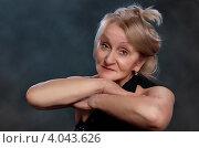 Купить «Портрет элегантной пожилой женщины в черном платье», фото № 4043626, снято 17 ноября 2012 г. (c) Олег Шеломенцев / Фотобанк Лори
