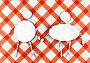 Фигуры мужчины и женщины из тарелок и столовых приборов, иллюстрация № 4059978 (c) Виктор Застольский / Фотобанк Лори