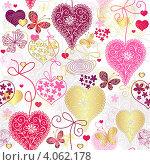 Купить «Бесшовный фон с рисунками сердечек и бабочек», иллюстрация № 4062178 (c) Ольга Дроздова / Фотобанк Лори