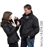 Купить «Молодые люди беседуют», фото № 4074326, снято 10 ноября 2012 г. (c) Михаил Иванов / Фотобанк Лори